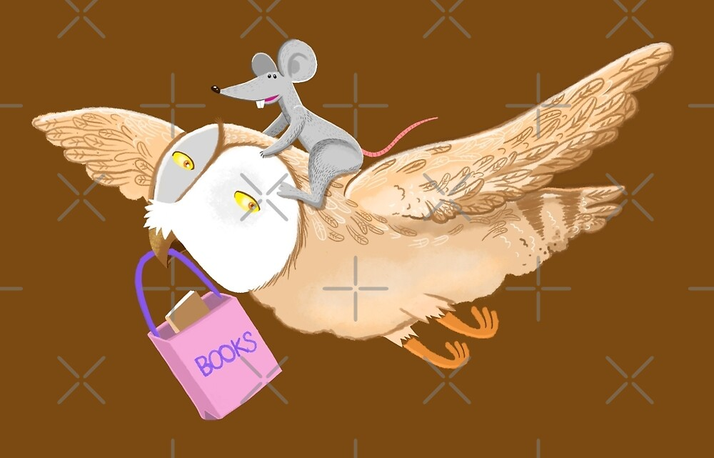 Owl and mouse in search of books by jasmineberry