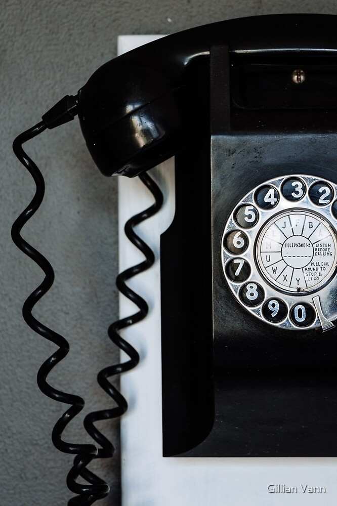 old vintage black wall phone by Gillian Vann