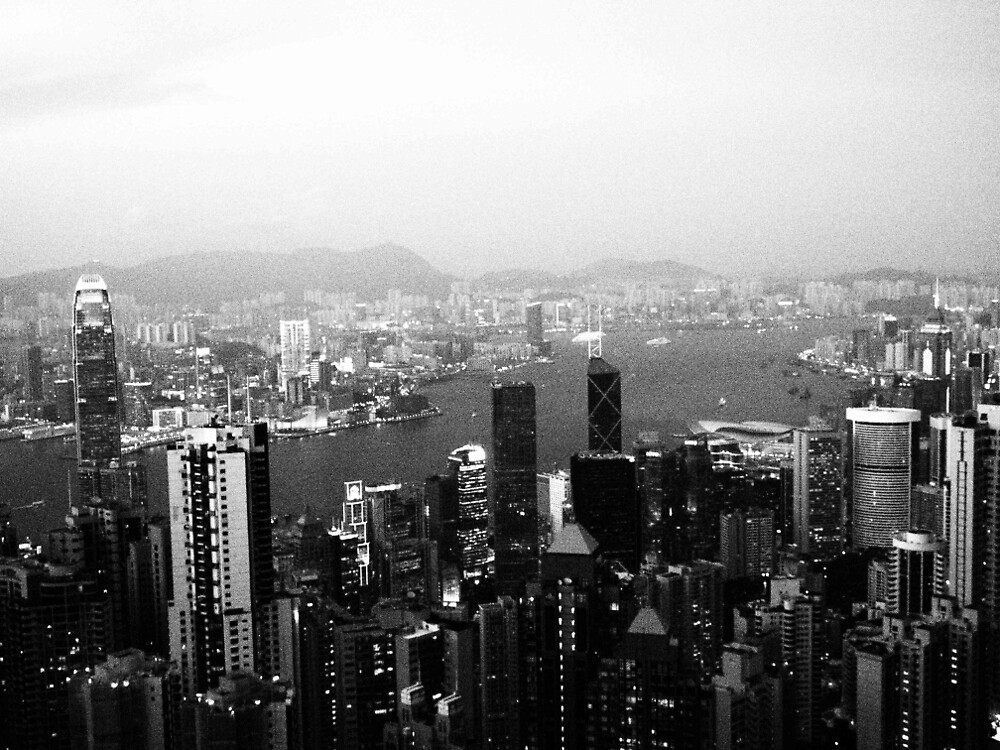 Hong Kong  - Victoria Peak - B&W by JennAlexCo