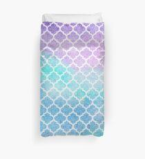 Faded gentle azure moroccan tiles Duvet Cover