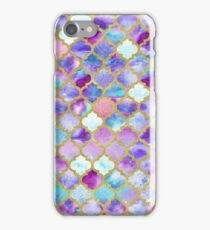 Moroccan watercolor teal and indigo tiles iPhone Case/Skin