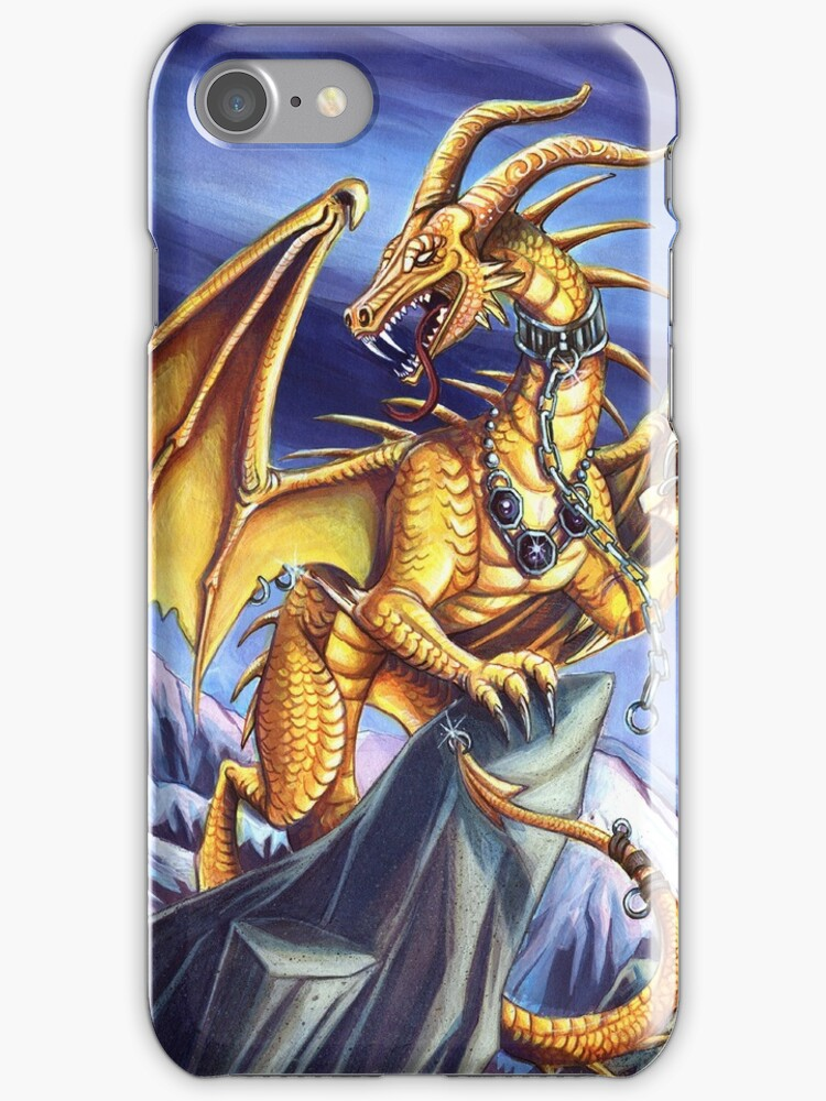 Gold Sky Dragon Iphone Case by cybercat