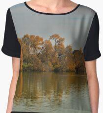 Fall trees reflection on wate Women's Chiffon Top