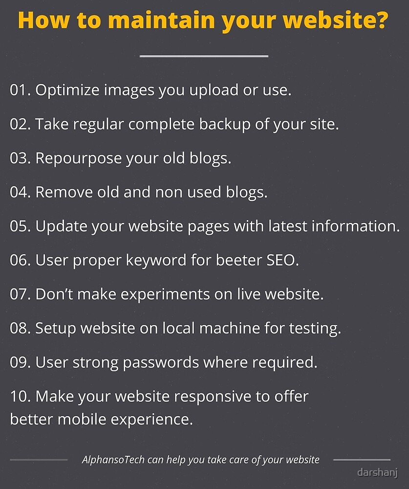 website maintenance tips by darshanj