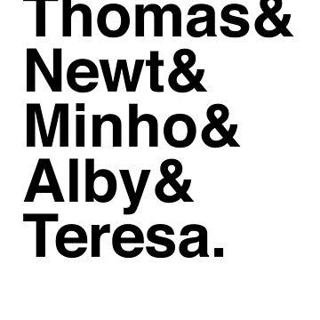 Thomas & Newt & Minho & Alby & Teresa. by Kitmagic