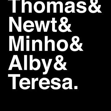 Thomas & Newt & Minho & Alby & Teresa. (inverse) by Kitmagic