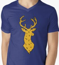 orange on blue deer Men's V-Neck T-Shirt