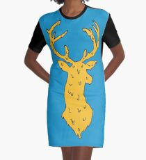 orange on blue deer Graphic T-Shirt Dress