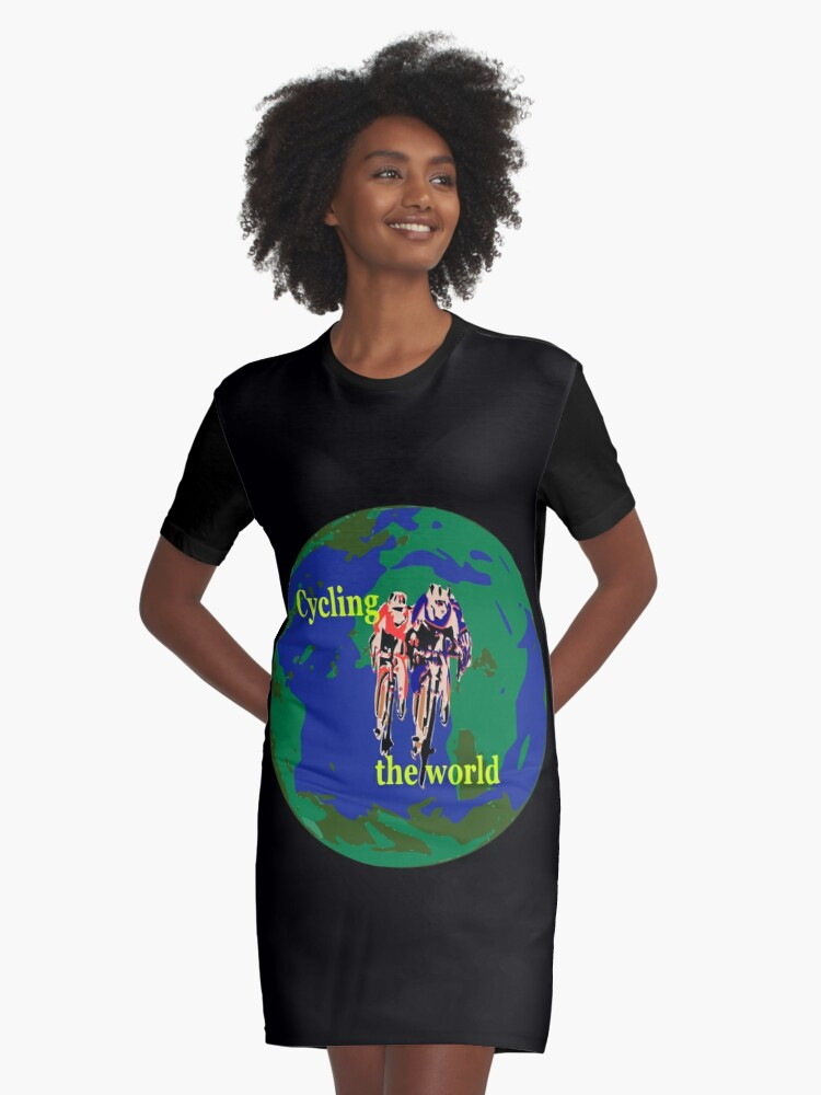 Cycling the World Graphic T-Shirt Dress Front