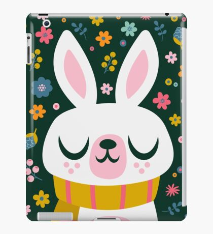 Bunny Wearing a Scarf and Flowers iPad Case/Skin