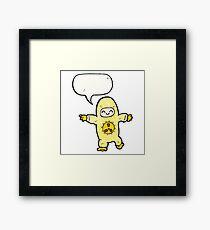 man in radiation suit cartoon Framed Print