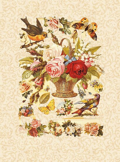 Vintage Birds, Butterflies and Roses Vintage Cut-out by AntiqueImages
