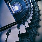 Spiral metal stairs in blue by JBlaminsky