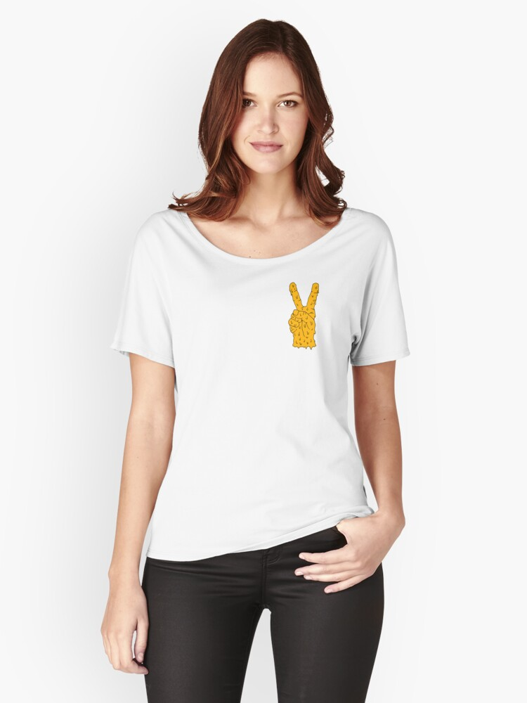 orange hand Women's Relaxed Fit T-Shirt Front