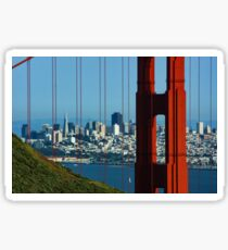Iconic San Fransisco - Downtown Framed by Red Steel Sticker