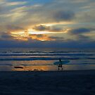 Ocean Beach Surfer at Sunset by Dave Stephens