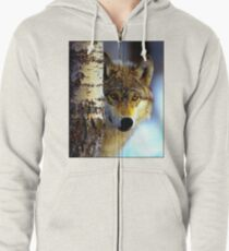 TIMBER WOLF; Vintage Wilderness Print Zipped Hoodie
