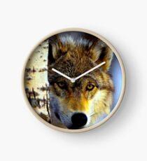 TIMBER WOLF; Vintage Wilderness Print Clock