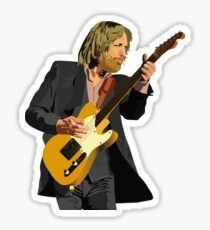 Tom Petty Rock 'N' Roll pose with Fender telecaster guitar (Tom Petty and The Heartbreakers) Sticker