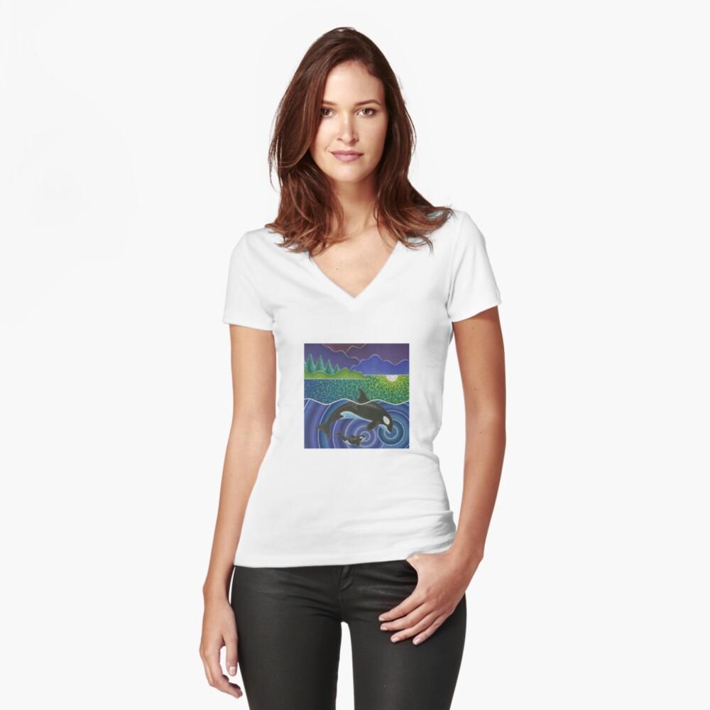 Orca Sonic Liebe Tailliertes T-Shirt mit V-Ausschnitt