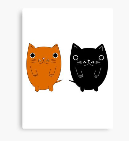 Two silly Cartoon Cats Canvas Print