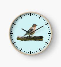 Chaffinch - Dash dial markings, Blue background Clock