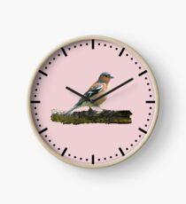 Chaffinch - Dash dial markings, Pink background Clock