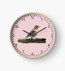 Chaffinch - number dial markings, Pink background Clock