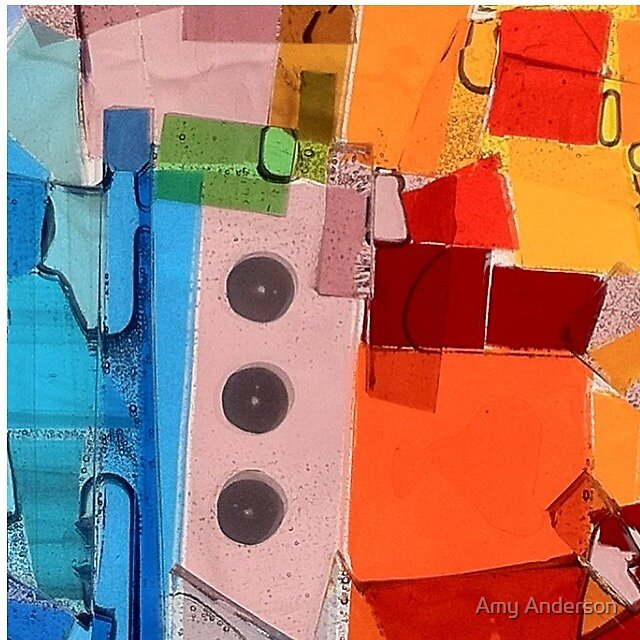 Blue Orange Abstract Confetti by Amy Anderson
