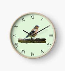 Chaffinch - Roman dial markings, Green background Clock