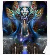 The Eternal Majesty Of Thera Fractal Portrait Poster