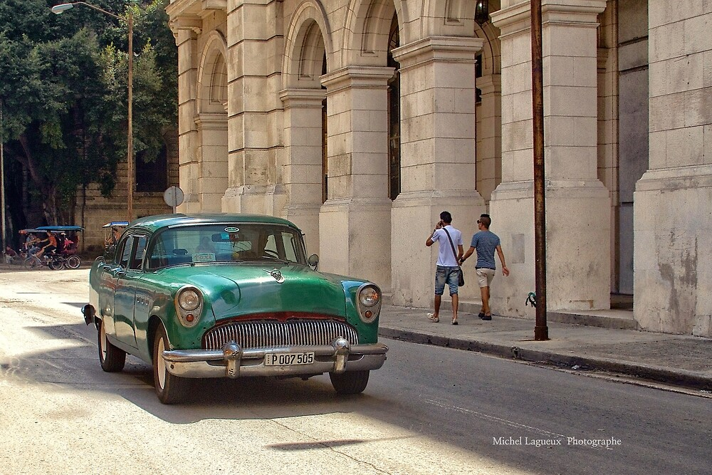 Men and old chevy by Michel Lagueux