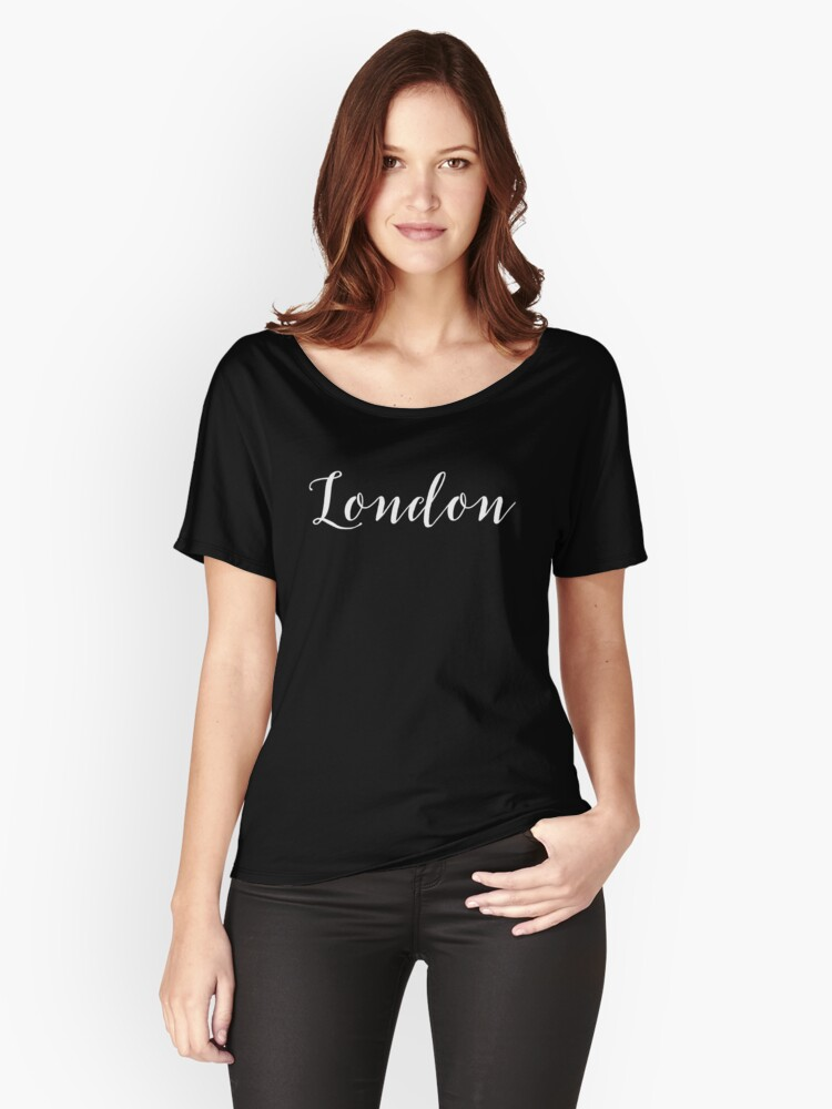 London White Script On Black Women's Relaxed Fit T-Shirt Front
