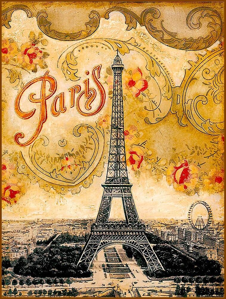 EIFFEL TOWER; Vintage Ornamental Paris Print by posterbobs