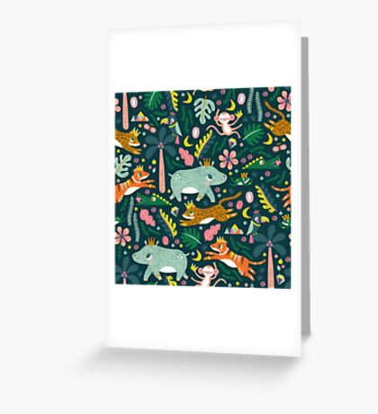 Jungle Buddies Cute Pattern Greeting Card