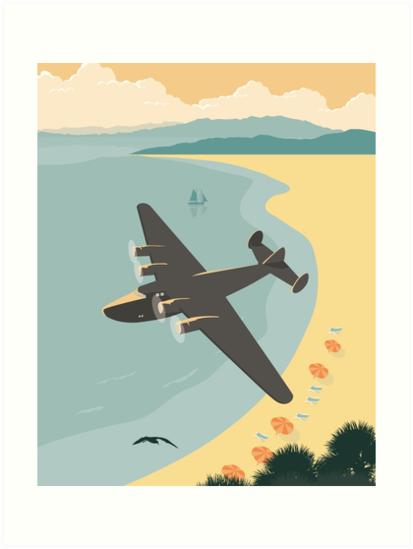 Vintage Plane Over the Beach by blue67sign
