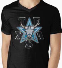 Lone Star Skull - Blk. Bkg. Mens V-Neck T-Shirt