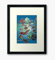 Fish, Feather & Flame Tree Flowers Framed Print