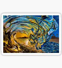 Crashing Wave Sunset Painting - Hawaiian Gold II Sticker