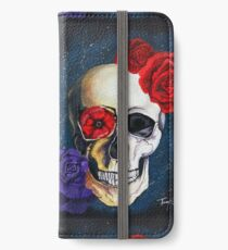 The Flowers and A Skull; Original Acrylic Painting on Stretched Canvas; Galaxy iPhone Wallet