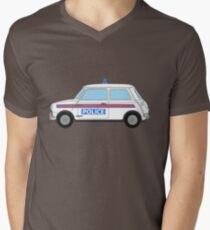 Morris Mini Cooper Police Car Mens V-Neck T-Shirt