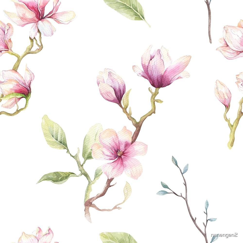 Delicate Pink Magnolia Blossom Print by nanengen2