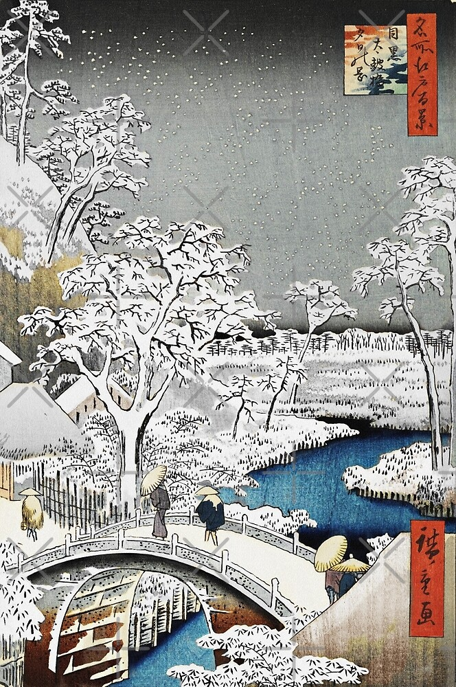 Japanese Bridge in the Snow by diane  addis