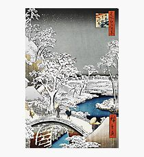 Japanese Bridge in the Snow Photographic Print