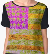 Pink, yellow and green flag appropriated from Jasper Johns Chiffon Top