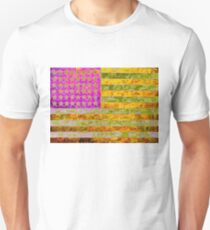Pink, yellow and green flag appropriated from Jasper Johns Unisex T-Shirt