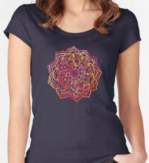 Watercolor Medallion in Sunset Colors Women's Fitted Scoop T-Shirt