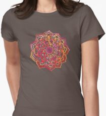 Watercolor Medallion in Sunset Colors Womens Fitted T-Shirt