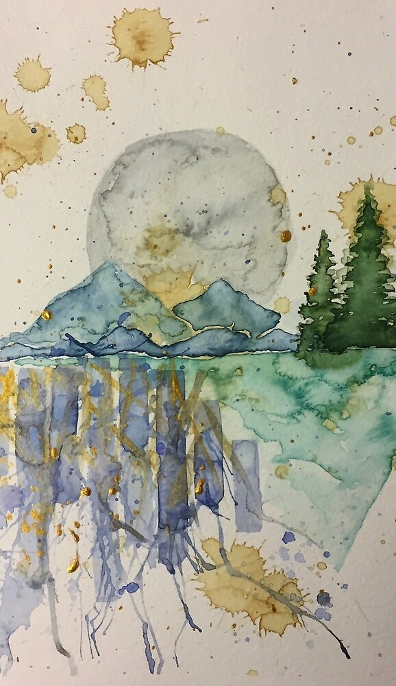 Watercolor Forest Nights by caitlinsvacina