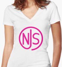 NJS stamp (pink print) Women's Fitted V-Neck T-Shirt